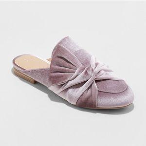 Shoes - Pink velvet mule shoes